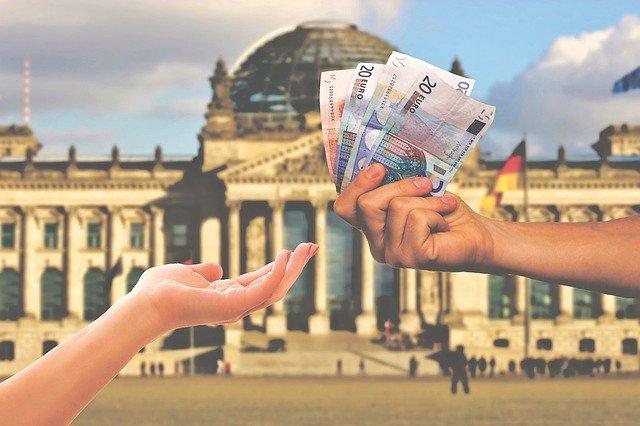 banka, ruka, peníze
